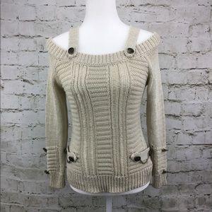 Boston Proper Cold Shoulder Button Detail Sweater